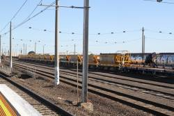 Rake of ballast hoppers stabled at Tottenham Yard