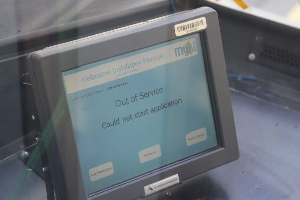 Tram Driver Console showing an 'out of service' message