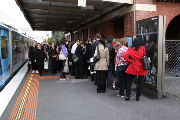 Queue of Myki users blocking the single exit at Newmarket station