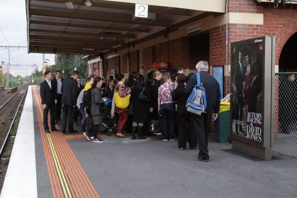 The train has departed Newmarket station, but the queue remains