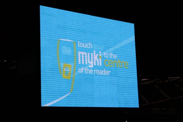 Animated Myki message on rotation on the Southern Cross Station advertising panel
