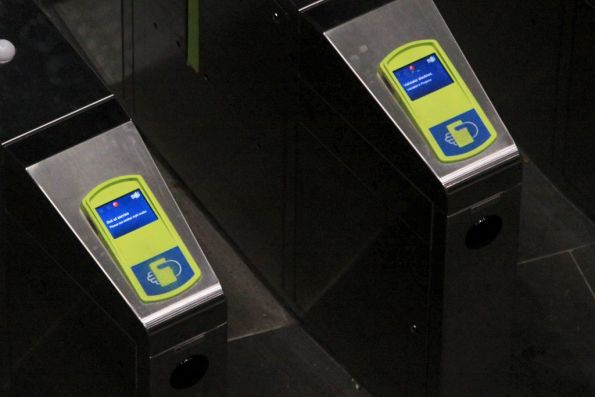 Out of order Myki-only ticket barriers at the Southern Cross country platforms
