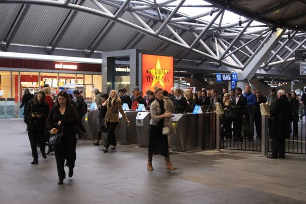 9 AM close for the overflow gates still in place at Southern Cross