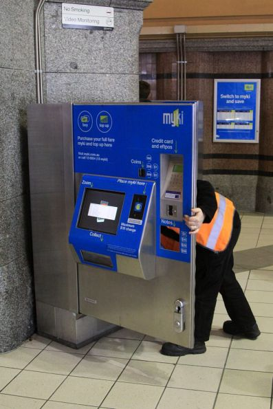 Faulty Myki CVM under repair at Flinders Street Station