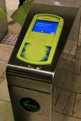 'Gate out of use' message on the Myki gates at Melbourne Central, but the green arrow is still displayed