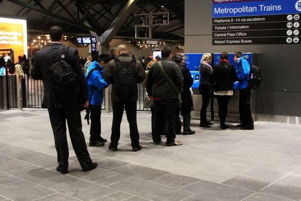 Queue for a pair of Myki machines at Southern Cross Station