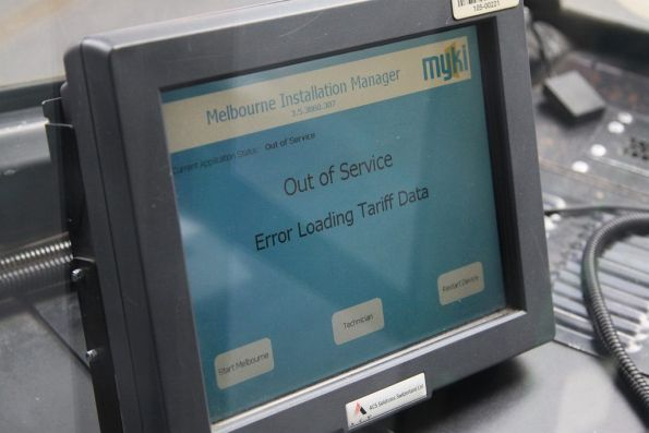 'Out of Service / Error Loading Tariff Data' displayed on a Tram Driver Console