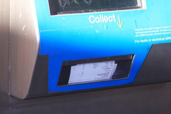 Half-dozen forgotten Myki receipts clutter up the slot at the bottom of the machine
