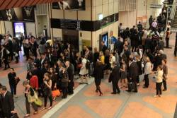 Queues to exit Flagstaff station after the main bank of Myki barriers died