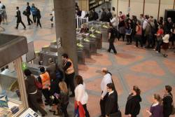 Only way out of Flagstaff: Metcard gates or the overflow Myki readers