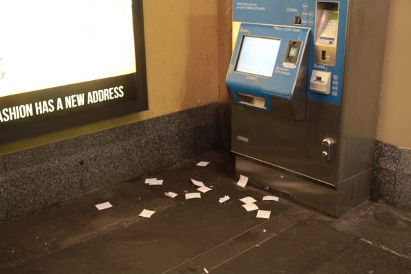 Myki machine at Flinders Street Station still spitting out unwanted receipts