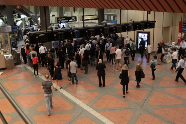 Morning congestion at the exit of Flagstaff station - the queue for the overflow readers moves faster than the 'real' Myki gates