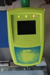 Dead Myki reader, with all three LEDs lit