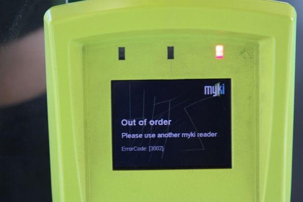 'Out of order / Please use another Myki reader' message