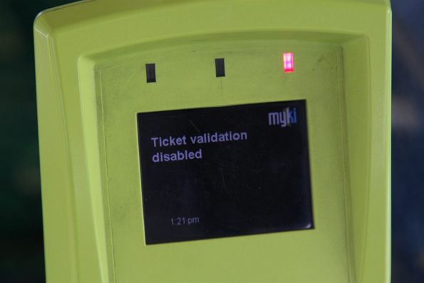 'Ticket validation disabled' message on a faulty Myki reader