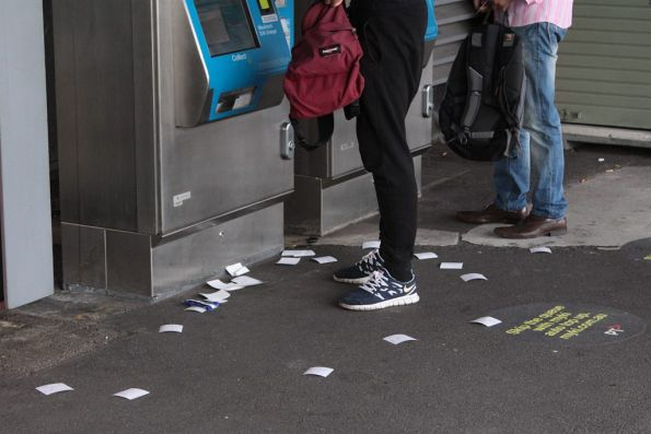 Unwanted Myki receipts continue to litter Melbourne!