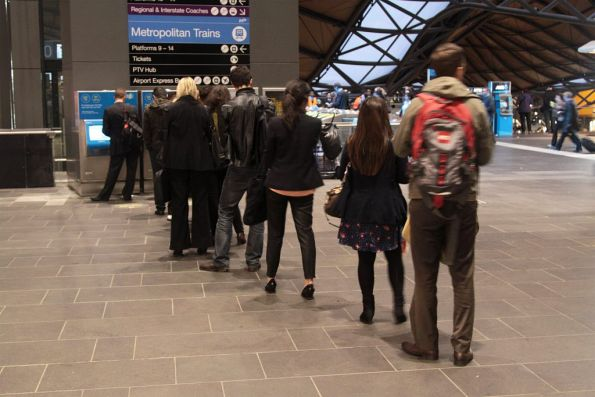 Queue for the Myki machines at Southern Cross in evening peak