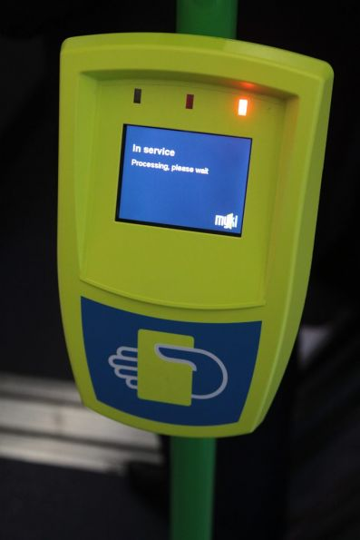 Another tram Myki reader stuck with the nonsensical 'In service: Processing, please wait' message
