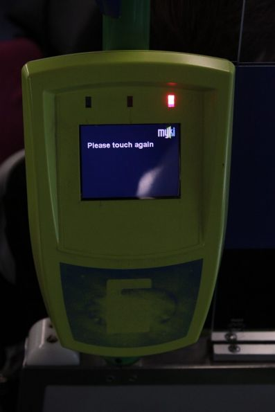 Myki reader onboard a tram, stuck at 'Please touch again'