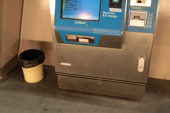 Station-staff supplied rubbish bin for Myki machine receipts at North Melbourne