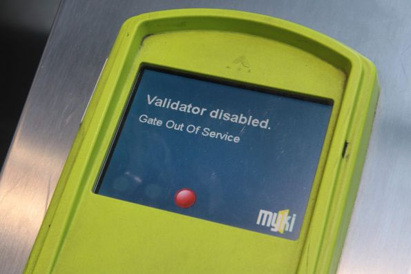 'Gate Out Of Service' message on a set of Myki gates