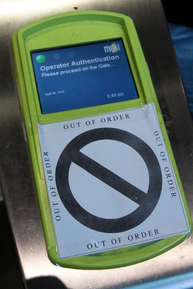 New error message on a myki gate 'Operator Authentication. Please proceed on the Gate...'
