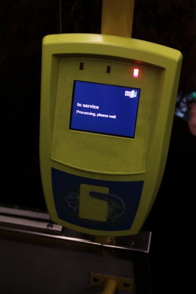 Yet another 'In service. Processing, please wait' message on a tram myki reader