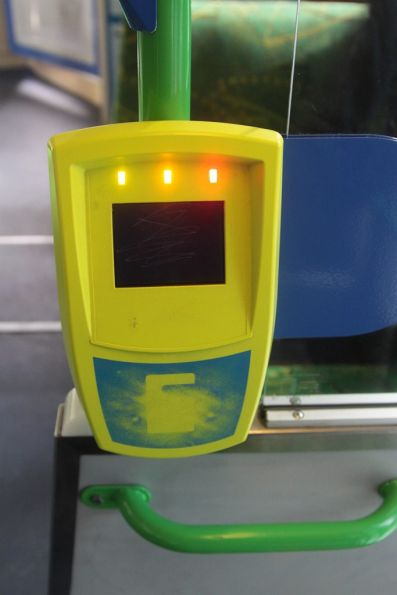 Another broken Myki reader onboard a tram, this time in a rebooting loop, flashing all three LEDs