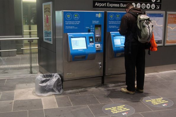 Bin for myki receipts at Southern Cross, supplied by the station staff