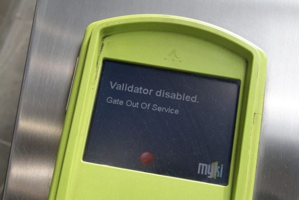Out of service myki gate on the country platforms at Southern Cross