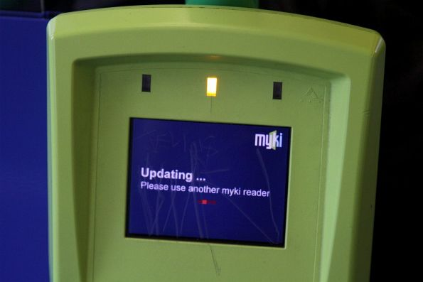 A new style of Myki error message 'Updating... Please use another myki reader'