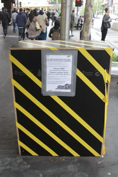 'Bumblebee' box marks where a Myki machine used to be at the tram stop outside Melbourne Central Station