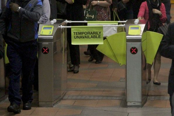 'Temporarily Unavailable' at Flagstaff station due to a broken barrier paddle