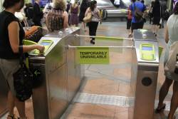 Fixed the night before, now these myki gates at Flagstaff are broken in a new way