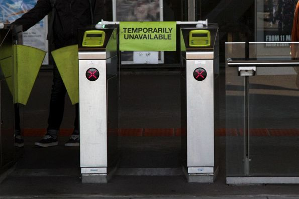 Another 'Temporarily Unavailable' flag on a set of myki gates, this time at Southern Cross