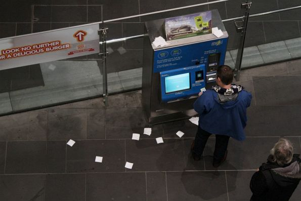 Collection of unwanted myki receipts at Southern Cross Station