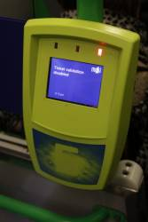 The almost forgotten 'Ticket validation disabled' message makes an appearance onboard a tram