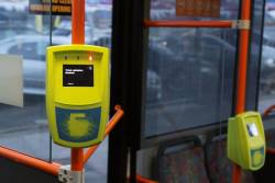 Broken Myki reader onboard a bus showing a 'Ticket validation disabled' message