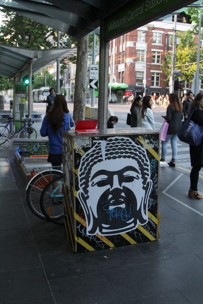 Myki machine at the Melbourne Central tram stop is still missing in action, a year since it was vandalised