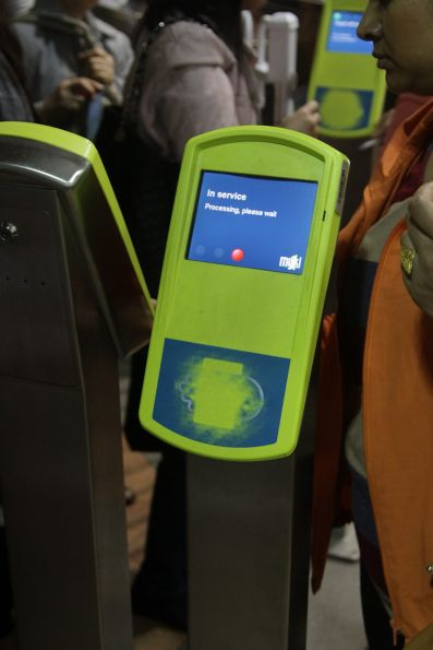 'In service. Processing, please wait' message on a myki reader at Flagstaff station