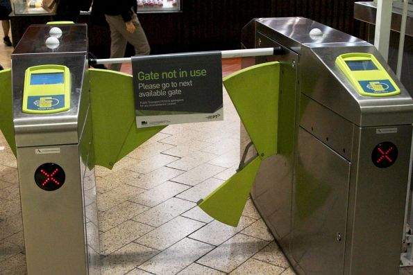 Broken myki gates at Melbourne Central