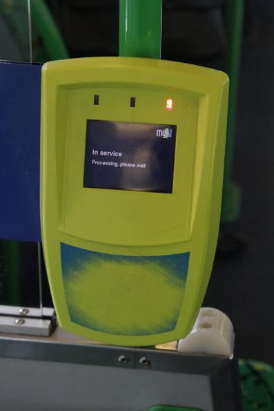 Myki reader goes to 'In service / Processing, please wait' message when I try to touch on