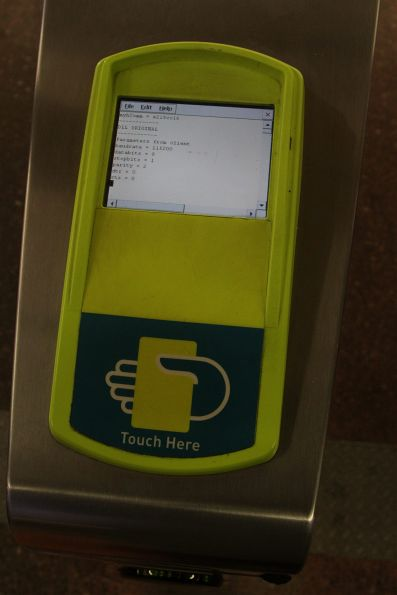 Defective myki reader number 1 at Footscray station