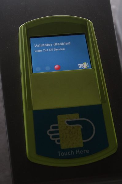 One of two defective myki gates at the Bourke Street end of the Southern Cross country platforms