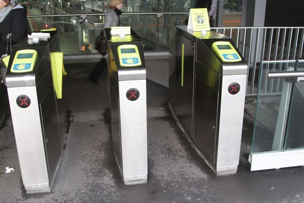 Two defective myki gates at the Bourke Street end of the Southern Cross country platforms