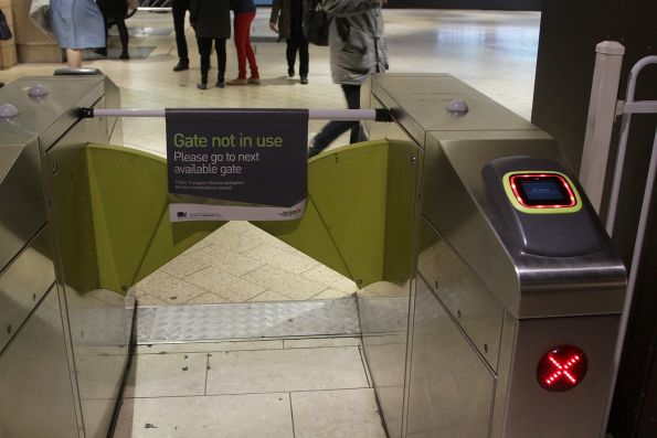 'Gate not in use' notice on a new Vix myki reader