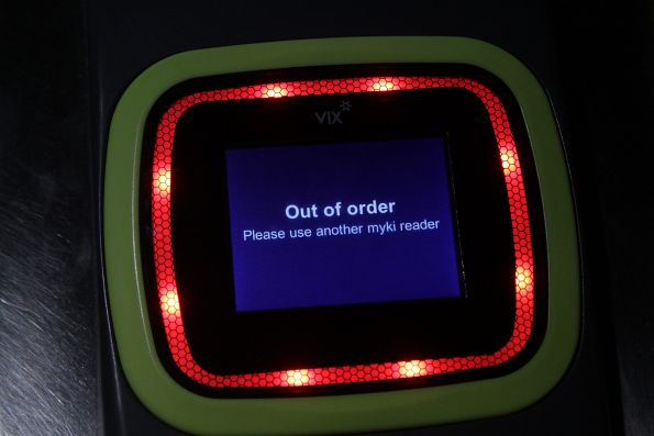 'Out of order' notice on a new Vix myki reader