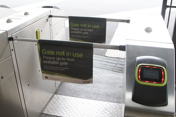 'Gate not in use' flags in place on a set of gates retrofitted with Vix readers