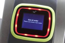 'Out of order' message displayed on a Vix myki reader