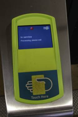 Myki reader stuck on the 'In service / Processing: please wait' message